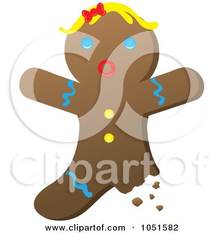 Royalty-Free Vector Clip Art Illustration of a Bitten Gingerbread Woman by Rosie Piter