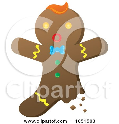 Royalty-Free Vector Clip Art Illustration of a Bitten Gingerbread Man by Rosie Piter