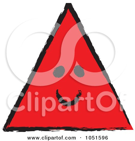 Royalty-Free Vector Clip Art Illustration of a Smiling Red Sketched Triangle by stephjs