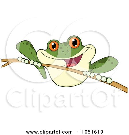 Royalty-Free Vector Clip Art Illustration of a Green Frog On A Twig by Hit Toon