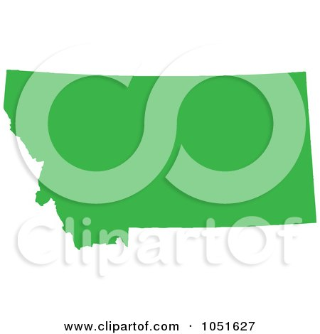 Royalty-Free Vector Clip Art Illustration of a Green Silhouetted Shape Of The State Of Montana, United States by Jamers