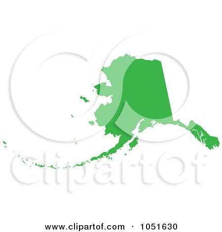 Royalty-Free Vector Clip Art Illustration of a Green Silhouetted Shape Of The State Of Alaska, United States by Jamers