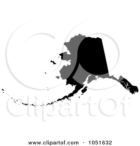Royalty-Free Vector Clip Art Illustration of a Black Silhouetted Shape Of The State Of Alaska, United States by Jamers