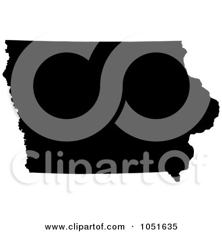Royalty-Free Vector Clip Art Illustration of a Black Silhouetted Shape Of The State Of Iowa, United States by Jamers