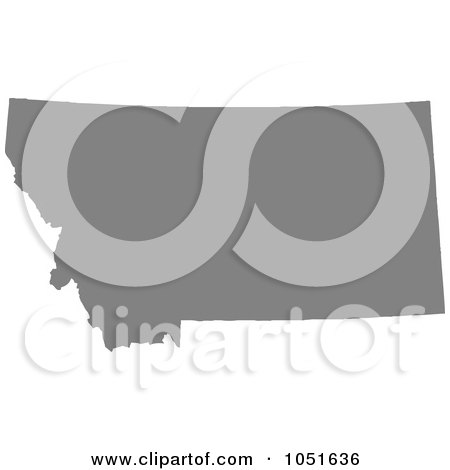 Royalty-Free Vector Clip Art Illustration of a Gray Silhouetted Shape Of The State Of Montana, United States by Jamers