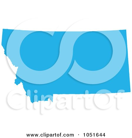 Royalty-Free Vector Clip Art Illustration of a Blue Silhouetted Shape Of The State Of Montana, United States by Jamers
