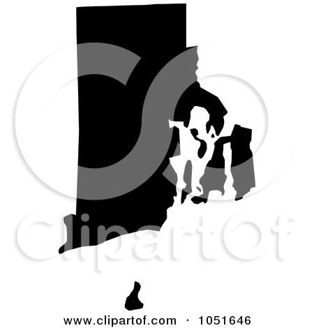 Royalty-Free Vector Clip Art Illustration of a Black Silhouetted Shape Of The State Of Rhode Island, United States by Jamers