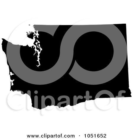 Royalty-Free Vector Clip Art Illustration of a Black Silhouetted Shape Of The State Of Washington, United States by Jamers