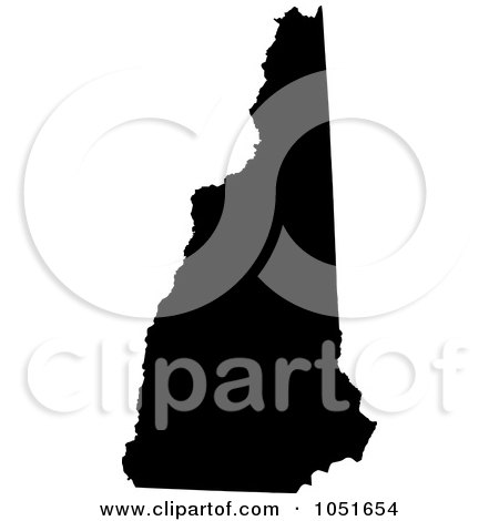 Royalty-Free Vector Clip Art Illustration of a Black Silhouetted Shape Of The State Of New Hampshire, United States by Jamers
