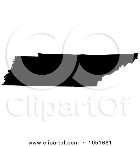 Royalty-Free Vector Clip Art Illustration of a Black Silhouetted Shape Of The State Of Tennessee, United States by Jamers