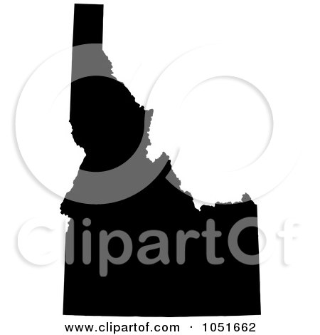 Royalty-Free Vector Clip Art Illustration of a Black Silhouetted Shape Of The State Of Idaho, United States by Jamers