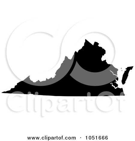Royalty-Free Vector Clip Art Illustration of a Black Silhouetted Shape Of The State Of Virginia, United States by Jamers