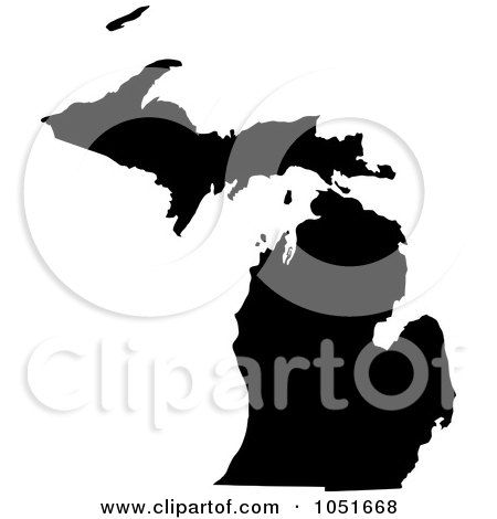 Royalty-Free Vector Clip Art Illustration of a Black Silhouetted Shape Of The State Of Michigan, United States by Jamers