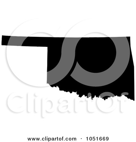 Royalty-Free Vector Clip Art Illustration of a Black Silhouetted Shape Of The State Of Oklahoma, United States by Jamers