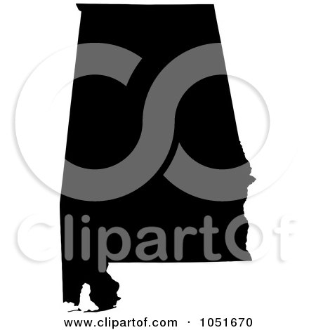 Royalty-Free Vector Clip Art Illustration of a Black Silhouetted Shape Of The State Of Alabama, United States by Jamers