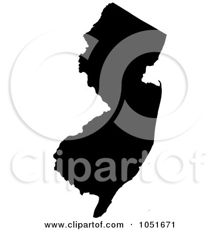 Royalty-Free Vector Clip Art Illustration of a Black Silhouetted Shape Of The State Of New Jersey, United States by Jamers