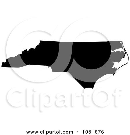 Royalty-Free Vector Clip Art Illustration of a Black Silhouetted Shape Of The State Of North Carolina, United States by Jamers
