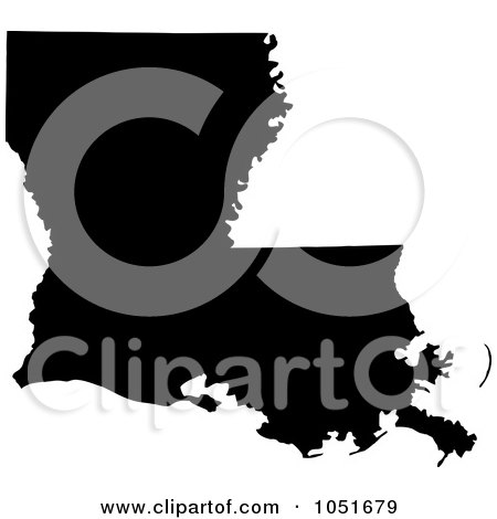 Royalty-Free Vector Clip Art Illustration of a Black Silhouetted Shape Of The State Of Louisiana, United States by Jamers