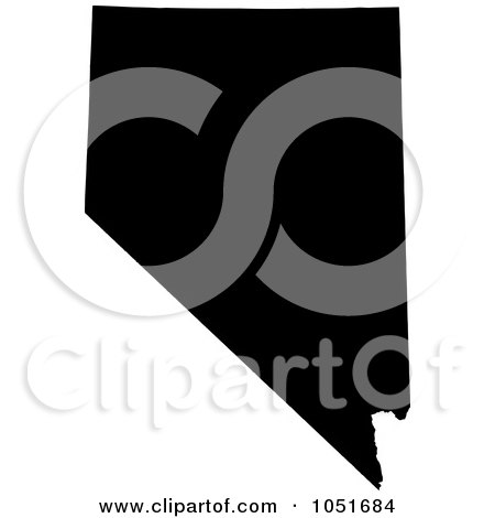 Royalty-Free Vector Clip Art Illustration of a Black Silhouetted Shape Of The State Of Nevada, United States by Jamers