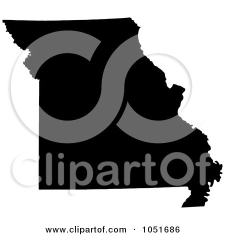 Royalty-Free Vector Clip Art Illustration of a Black Silhouetted Shape Of The State Of Missouri, United States by Jamers