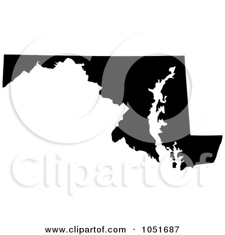 Royalty-Free Vector Clip Art Illustration of a Black Silhouetted Shape Of The State Of Maryland, United States by Jamers