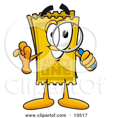 Clipart Picture of a Yellow Admission Ticket Mascot Cartoon Character Looking Through a Magnifying Glass by Toons4Biz