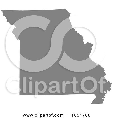 Royalty-Free Vector Clip Art Illustration of a Gray Silhouetted Shape Of The State Of Missouri, United States by Jamers