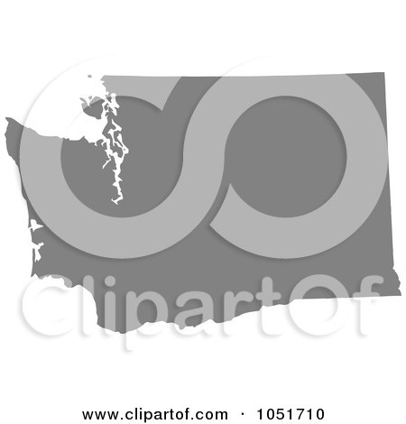 Royalty-Free Vector Clip Art Illustration of a Gray Silhouetted Shape Of The State Of Washington, United States by Jamers