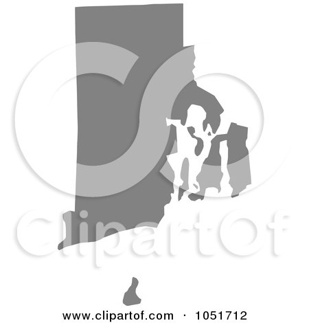 Royalty-Free Vector Clip Art Illustration of a Gray Silhouetted Shape Of The State Of Rhode Island, United States by Jamers