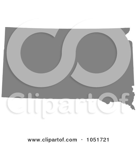 Royalty-Free Vector Clip Art Illustration of a Gray Silhouetted Shape Of The State Of South Dakota, United States by Jamers