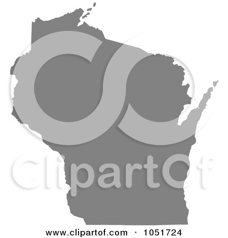 Royalty-Free Vector Clip Art Illustration of a Gray Silhouetted Shape Of The State Of Wisconsin, United States by Jamers