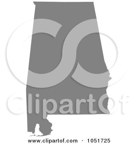 Royalty-Free Vector Clip Art Illustration of a Gray Silhouetted Shape Of The State Of Alabama, United States by Jamers
