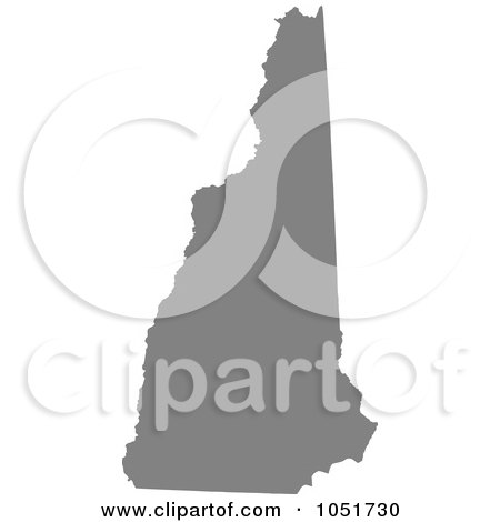 Royalty-Free Vector Clip Art Illustration of a Gray Silhouetted Shape Of The State Of New Hampshire, United States by Jamers