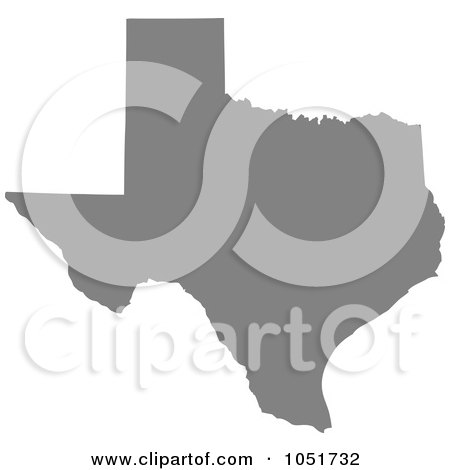Royalty-Free Vector Clip Art Illustration of a Gray Silhouetted Shape Of The State Of Texas, United States by Jamers