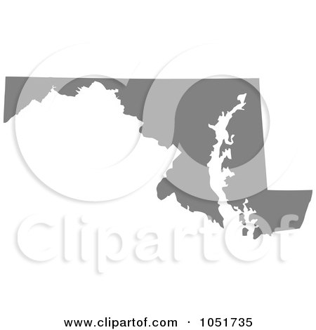 Royalty-Free Vector Clip Art Illustration of a Gray Silhouetted Shape Of The State Of Maryland, United States by Jamers