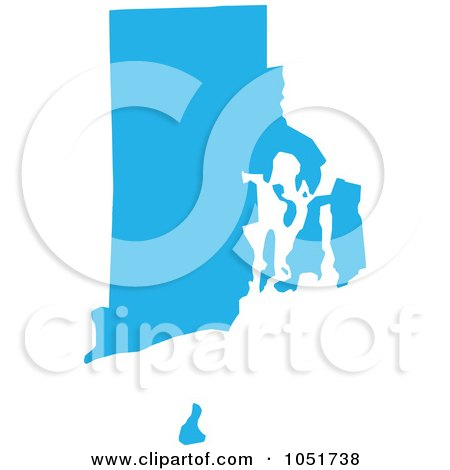 Royalty-Free Vector Clip Art Illustration of a Blue Silhouetted Shape Of The State Of Rhode Island, United States by Jamers