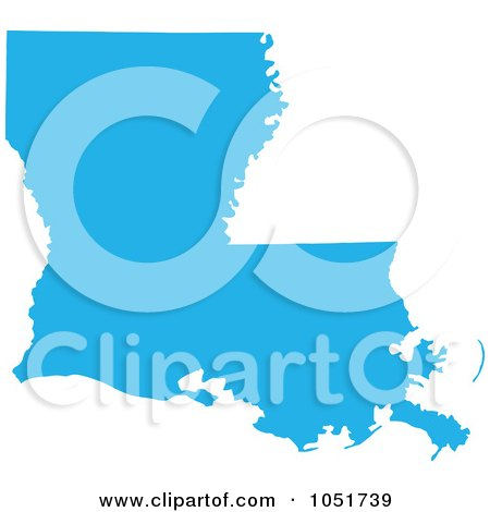 Royalty-Free Vector Clip Art Illustration of a Blue Silhouetted Shape Of The State Of Louisiana, United States by Jamers
