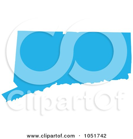 Royalty-Free Vector Clip Art Illustration of a Blue Silhouetted Shape Of The State Of Connecticut, United States by Jamers