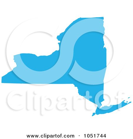 Royalty-Free Vector Clip Art Illustration of a Blue Silhouetted Shape Of The State Of New York, United States by Jamers
