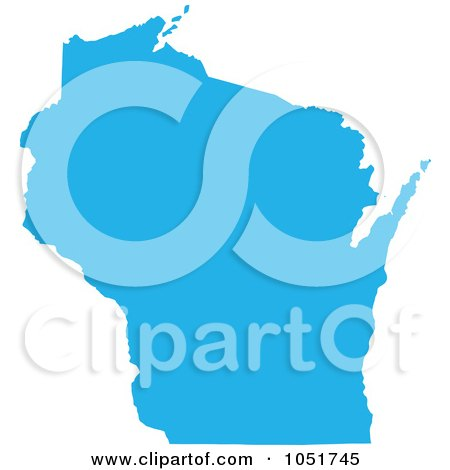 Royalty-Free Vector Clip Art Illustration of a Blue Silhouetted Shape Of The State Of Wisconsin, United States by Jamers