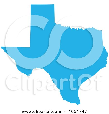 Royalty-Free Vector Clip Art Illustration of a Blue Silhouetted Shape Of The State Of Texas, United States by Jamers