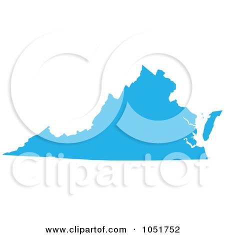 Royalty-Free Vector Clip Art Illustration of a Blue Silhouetted Shape Of The State Of Virginia, United States by Jamers