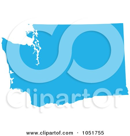 Royalty-Free Vector Clip Art Illustration of a Blue Silhouetted Shape Of The State Of Washington, United States by Jamers