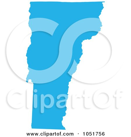 Royalty-Free Vector Clip Art Illustration of a Blue Silhouetted Shape Of The State Of Vermont, United States by Jamers