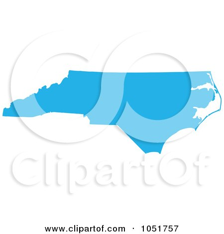 Royalty-Free Vector Clip Art Illustration of a Blue Silhouetted Shape Of The State Of North Carolina, United States by Jamers