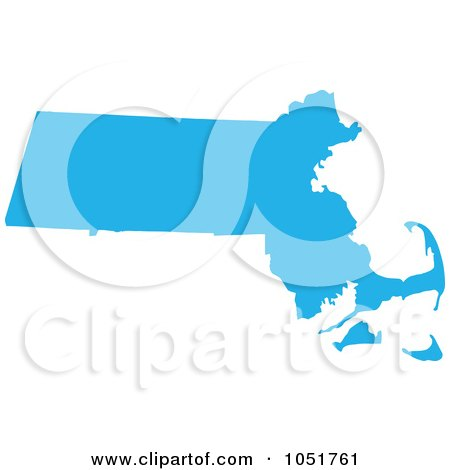 Royalty-Free Vector Clip Art Illustration of a Blue Silhouetted Shape Of The State Of Massachusetts, United States by Jamers