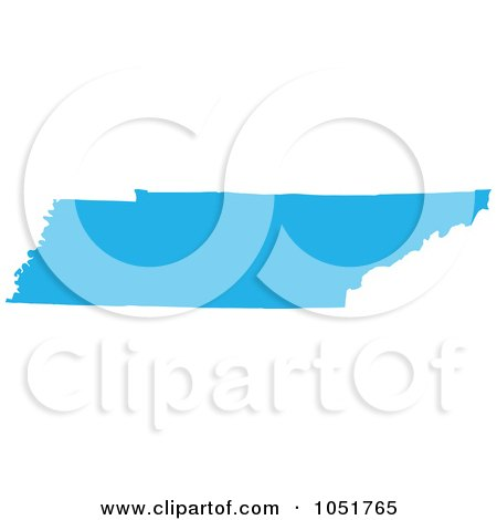 Royalty-Free Vector Clip Art Illustration of a Blue Silhouetted Shape Of The State Of Tennessee, United States by Jamers