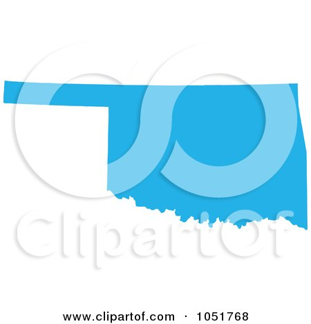 Royalty-Free Vector Clip Art Illustration of a Blue Silhouetted Shape Of The State Of Oklahoma, United States by Jamers