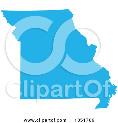 Royalty-Free Vector Clip Art Illustration of a Blue Silhouetted Shape Of The State Of Missouri, United States by Jamers
