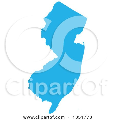 Royalty-Free Vector Clip Art Illustration of a Blue Silhouetted Shape Of The State Of New Jersey, United States by Jamers